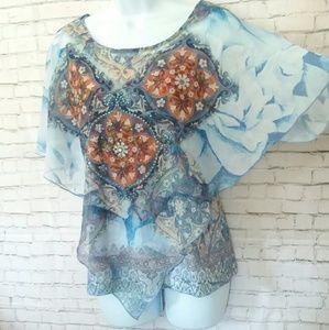 [NWOT] DRESSBARN embellished poncho blouse